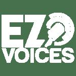 white ez voices logo